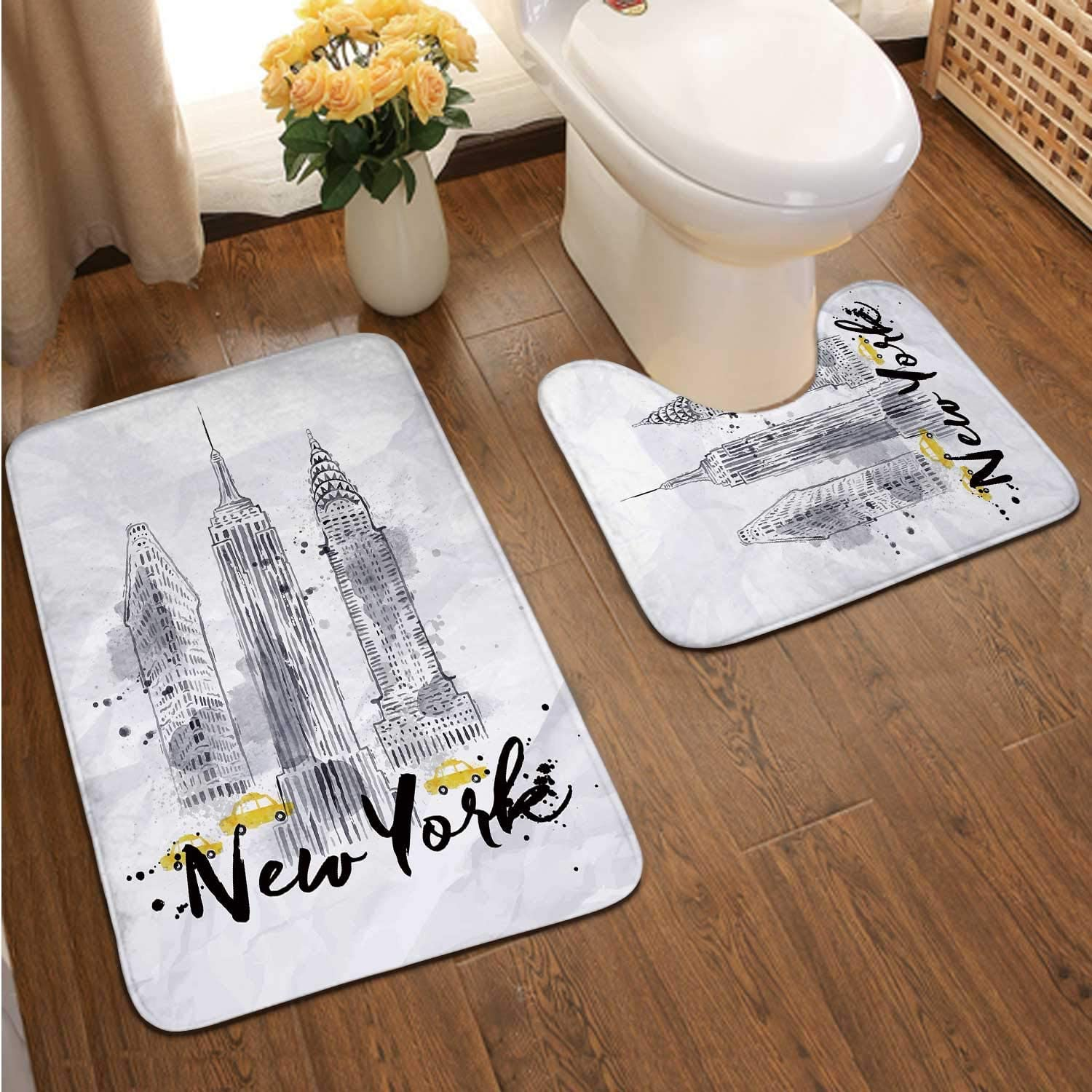New ork skscrapers Empire State Building in STLE Drawing with Drops and Splashes on Crumpled Paper,Bathroom Rugs Luxur Bath Mat,Super Absorbent Non-Slip Bath Mats