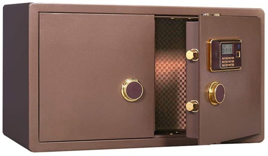GEQWE Safe Box Cabinet Safes Fingerprint Safe Deposit Box Jewelry Safe Steel Password Gold Shop Electronic 90 cm Wide Safe Money Box (Color : Brown, Size : 90x50x40cm)