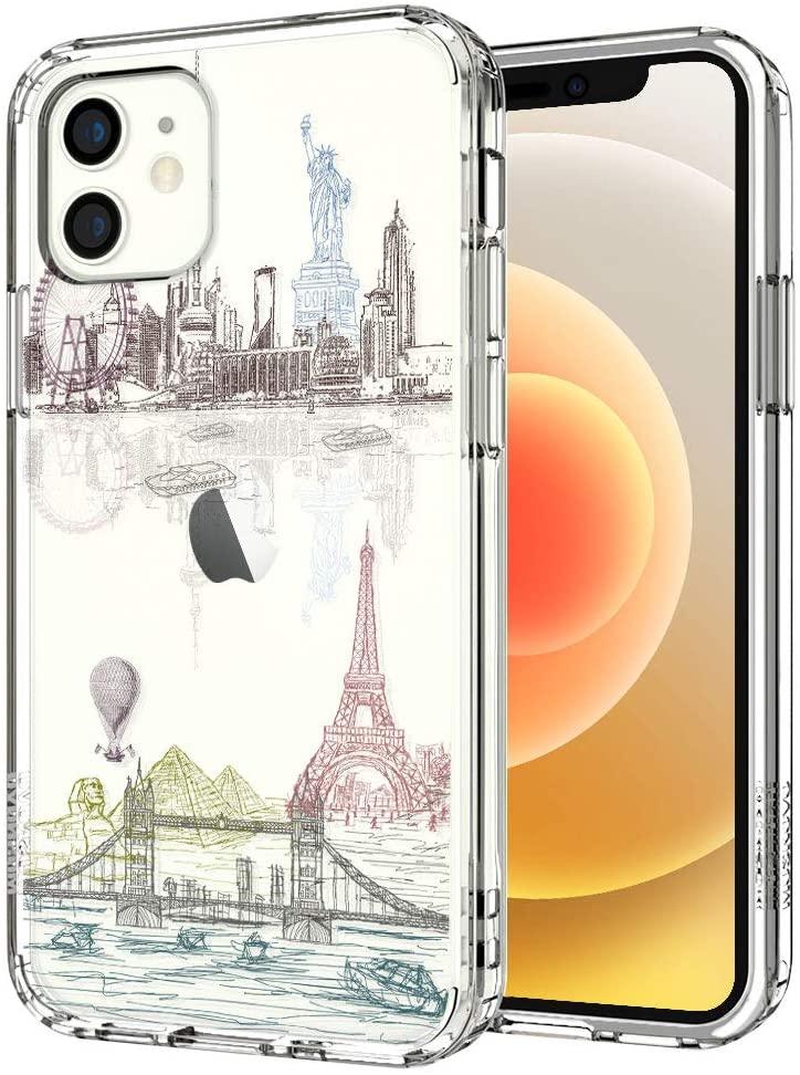MOSNOVO World Landmark Pattern Designed for iPhone 12 Mini Case 5.4 Inch - Clear
