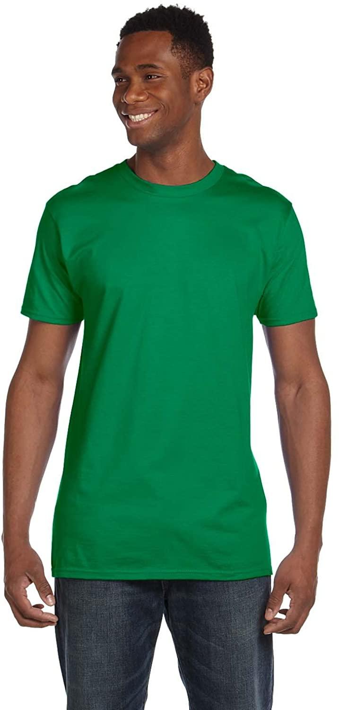 By Hanes Mens 45 Oz, 100% Ringspun Cotton Nano-T T-Shirt - Kelly Green - L - (Style # 4980 - Original Label)