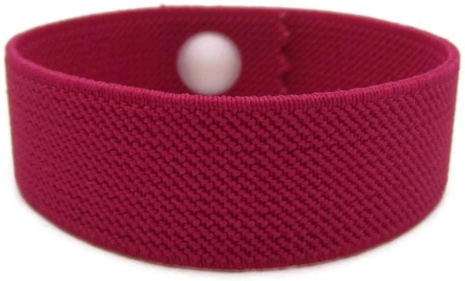 Anti-Anxiety Bracelet, Elasticated Acupressure Bracelet, Stress Relief Band, Water Resistant, Sleep Band, Pull-On Style (Single) (Rose, Medium 7
