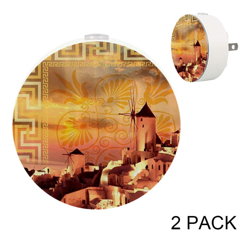 Kids Night Light with White Houses and Windmills Over The Ocean On Geometric Paisley Pattern Night Light Plug in Wall with Dusk-to-Dawn Sensor 2 Pack