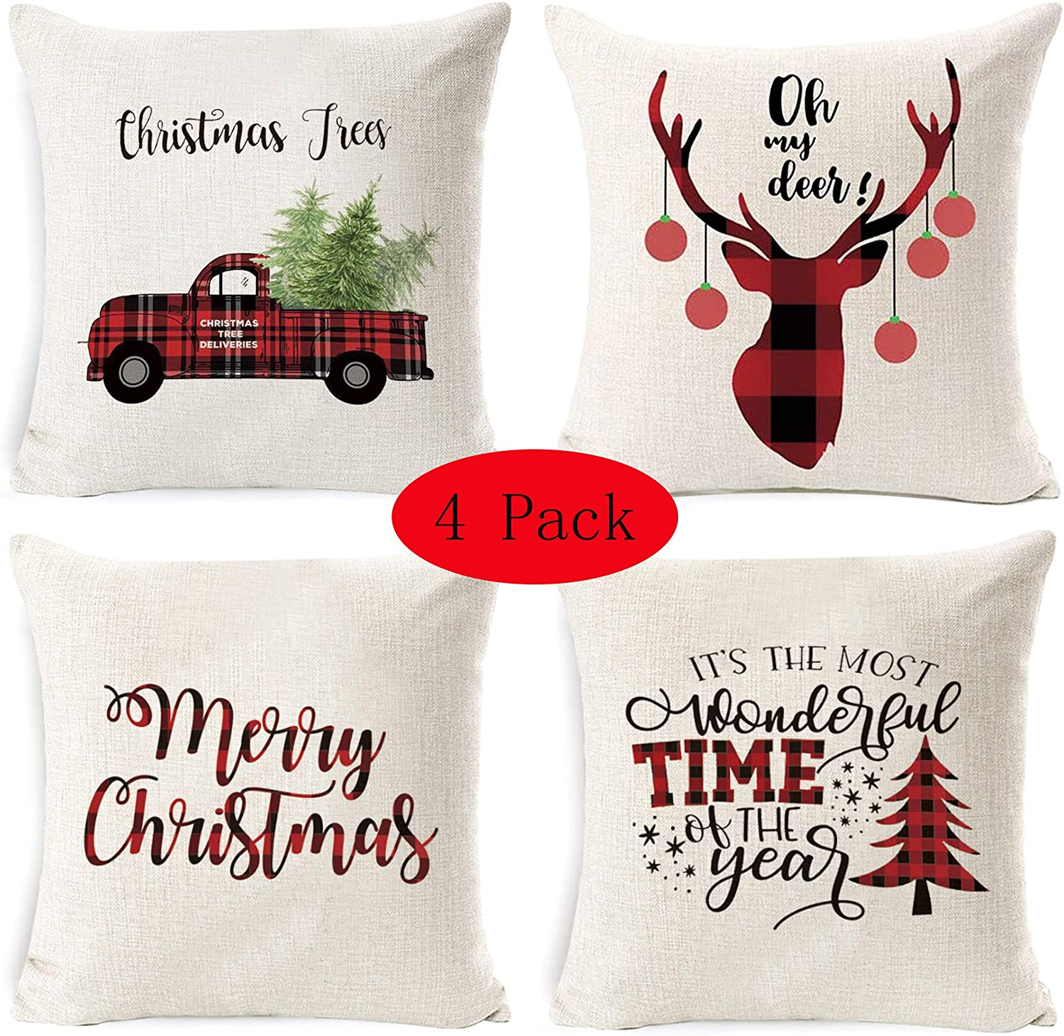 LUBOTS 4 Pack Christmas Throw Pillow Covers 18 X 18 Inch Christmas Trees Car/Truck Deer Merry Christmas Sofa Decorative Canvas Throw Pillow Case Cushion Covers Fresh