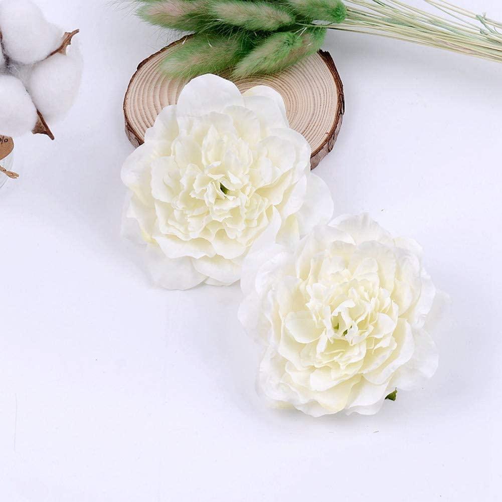 ZGSQBJ 10Cm Large Peony Artificial Flower Head DIY Wreath Handmade Craft Fake Flowers Party Supplies for Wedding Home Decoration
