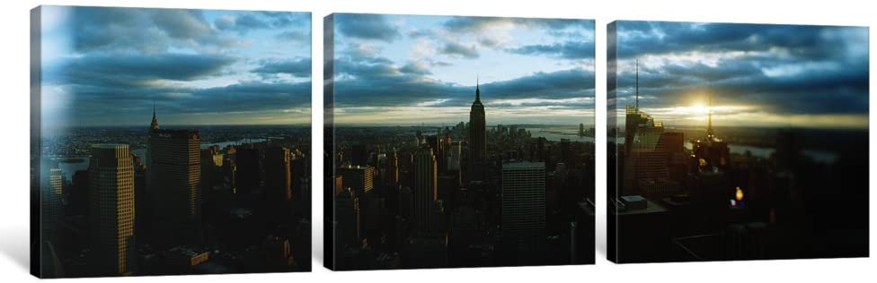 iCanvasART 3 Piece Buildings in a City, Empire State Building, Manhattan, New York City, New York State, USA 2011 Canvas Print by Panoramic Images, 48 x 16/1.5