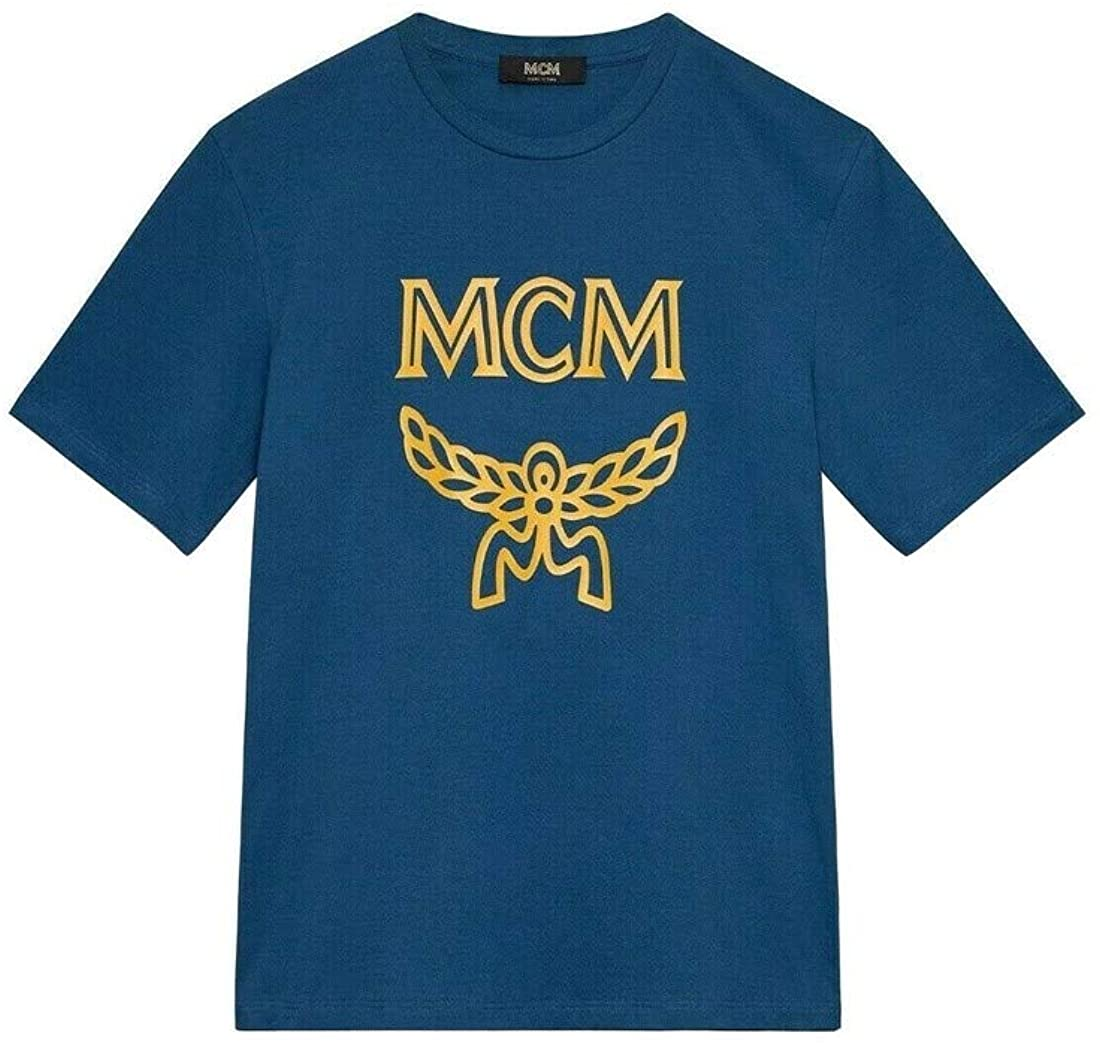 MCM Men's Blue Cotton Short Sleeve Logo Print T-Shirt MHT9AMM01LG0 (Large)