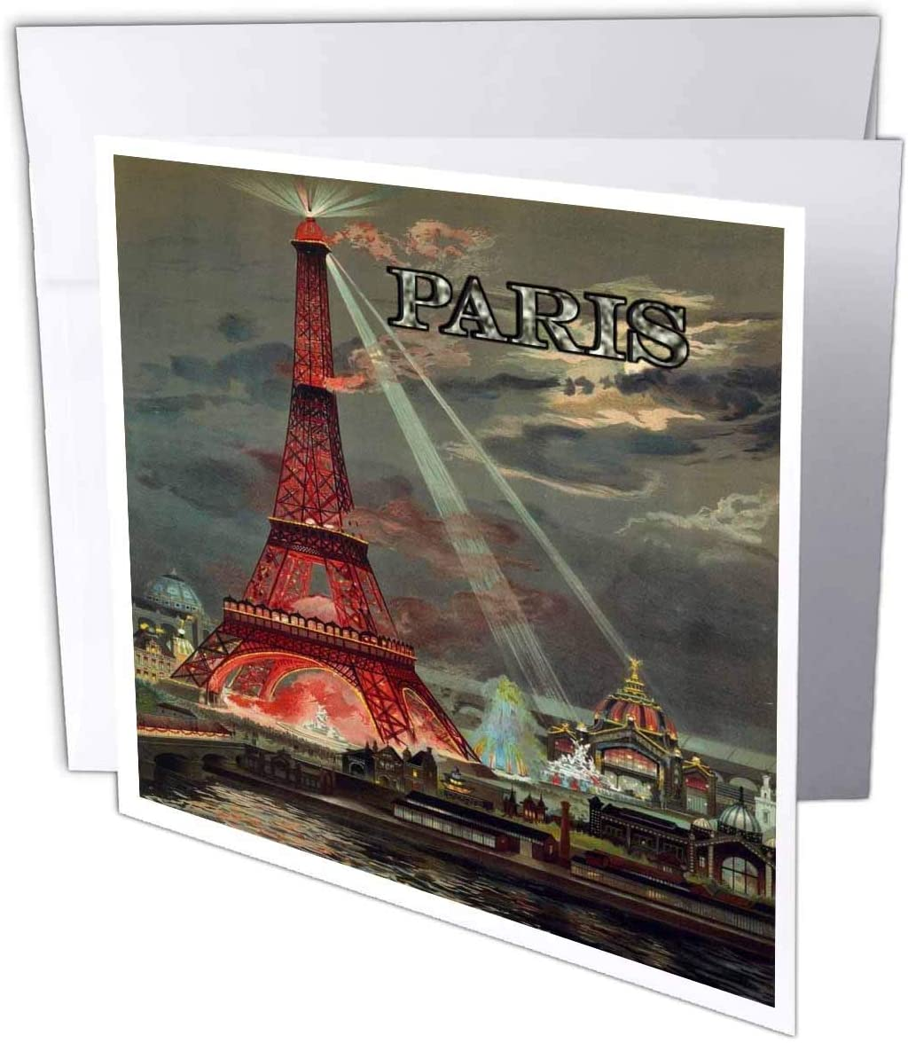 3dRose Lens Art by Florene - French Vintage - Image of Vintage Photo of Eiffel Tower Illuminated Metal Paris Word - 1 Greeting Card with Envelope (gc_321217_5)