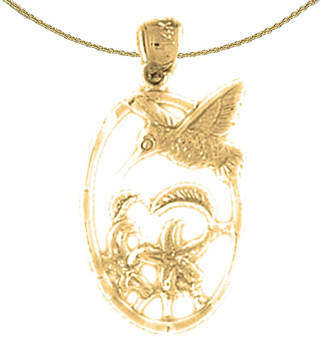 Jewels Obsession 14K Yellow Gold Hummingbird Pendant with 18