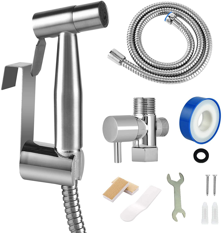 Bidet Sprayer for Toilet, Hand held Stainless Steel Toilet Bidet Sprayer Kit with Hose, Easy Install Bidet Attachment for Toilet, Bidet Sprayer for Personal Hygiene, Toilet Clean, Baby Diaper Cloth