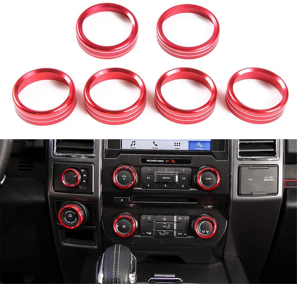 6 Pieces Car Decoration Ring for Air Conditioner Audio Switch, Morechioce Aluminum Alloy Ring Decoration Sticker Car Decor Accessories Fit for Ford F150 Xlt 2016 2017 2018 2019,Red
