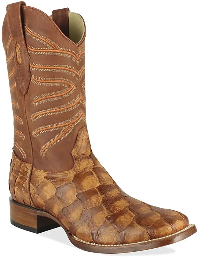 Los Altos Boots Men's Wide Square Toe #8221070   Genuine Pirarucu Fish Leather   Color Cognac Matte