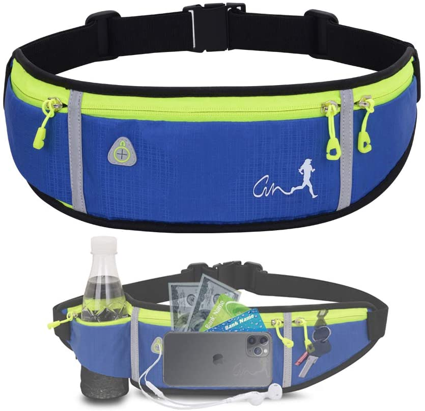 JAPI Running Belt,Water Resistant Runners Belt Fanny Pack for Women Men, Waist Bag for Hiking Fitness Travel - Adjustable Running Pouch Belt Fits Phones iPhone 11 pro max Xs x 6 7 8 Plus Samsung S10…