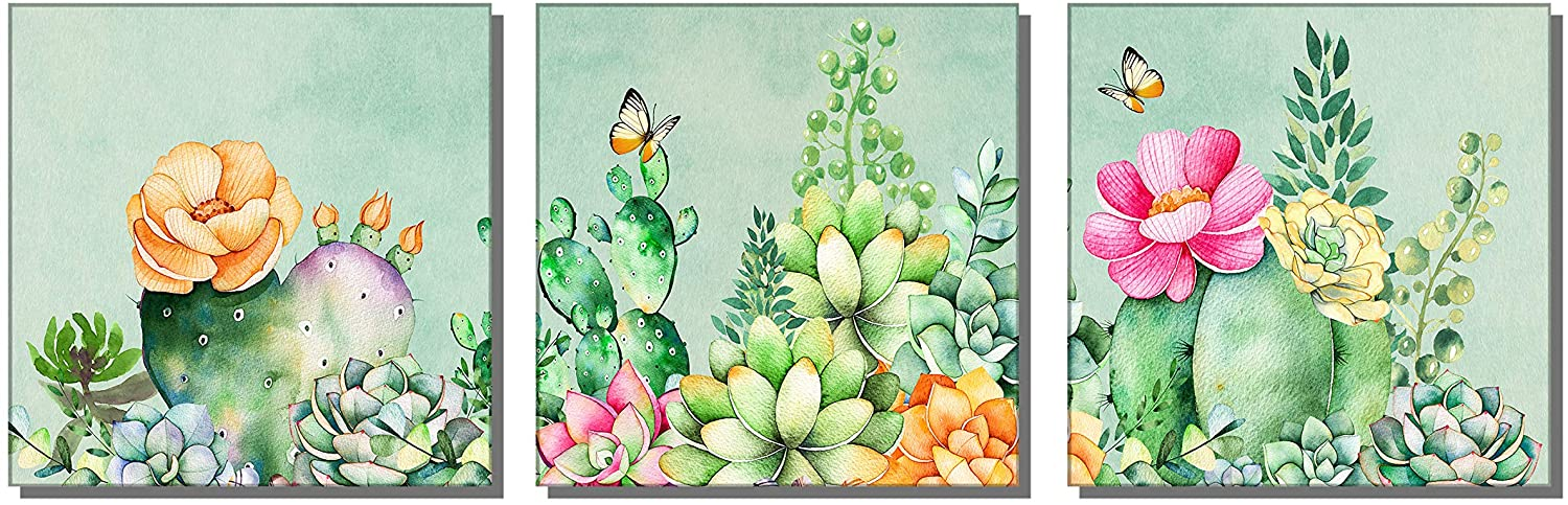 U&A Desert Cactus Plants Wall Art Watercolor Paintings Tropical Poster Artwork Canvas Print for Bedroom Bathroom Spiny Flower Home Office Leaves Decoration(12x12x3pcs Framed)