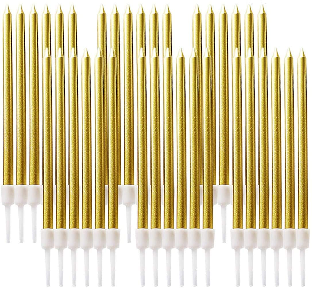 48 Count Gold Birthday Party Cake Candles,Metallic Long Thin Candles in Holders, Cake Topper Decoration for Wedding, Party