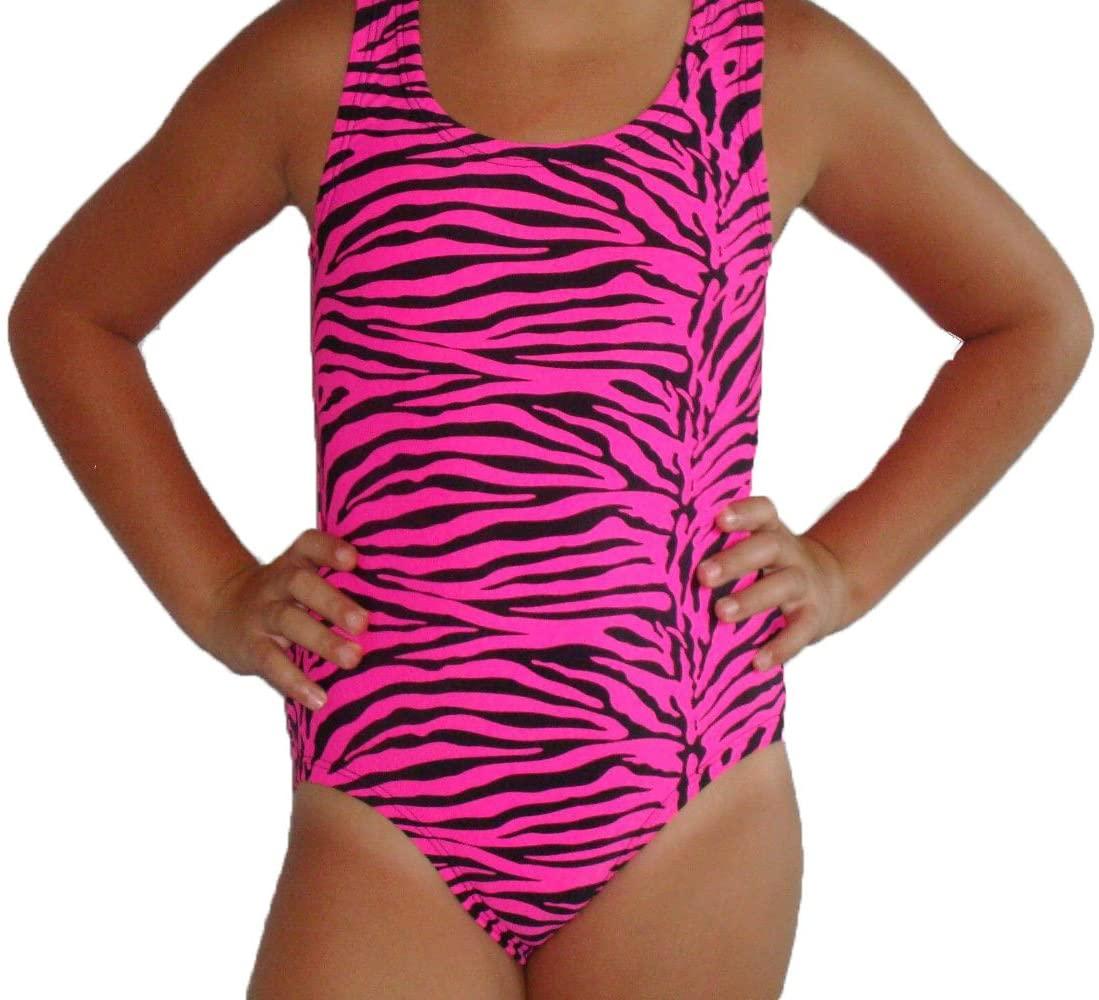 Red Monkey Pink and Black Animal Print Girls Gymnastic Leotard 10