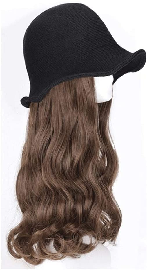 Wig Caps - Wig Hat - Summer Ladies Long Curly Hair Big Wave Fisherman Hat Integrated Shade Cooler Age Reduction Cute Wig Hat The Wig Cap That Can Change The Hairstyle at Any T