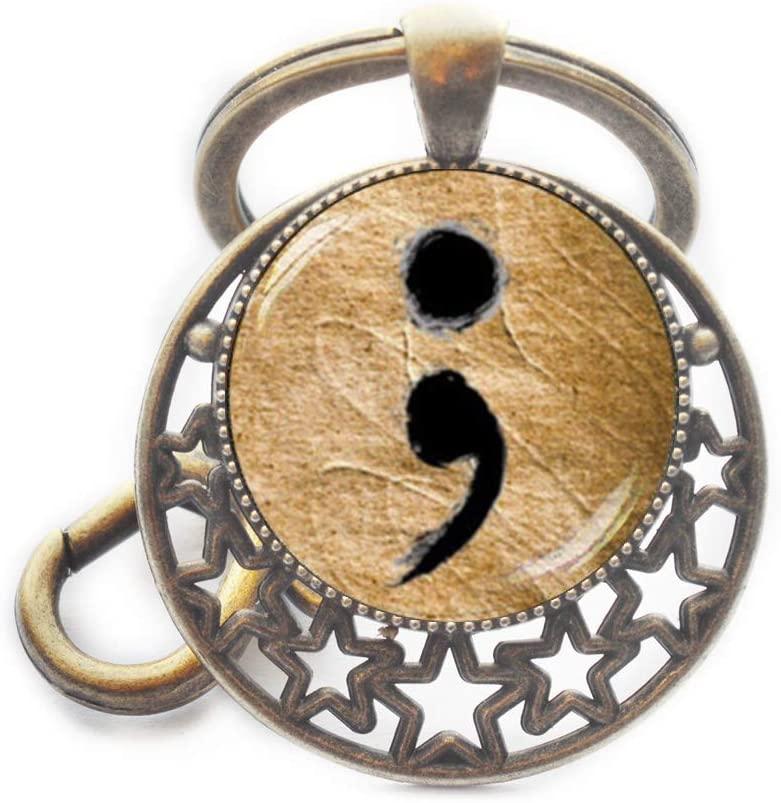 Semicolon Keychain,Semicolon Jewelry,Hope Keychain,Awareness Jewelry,Semicolon Gift,Quote Jewelry,Dainty Keychain,M44