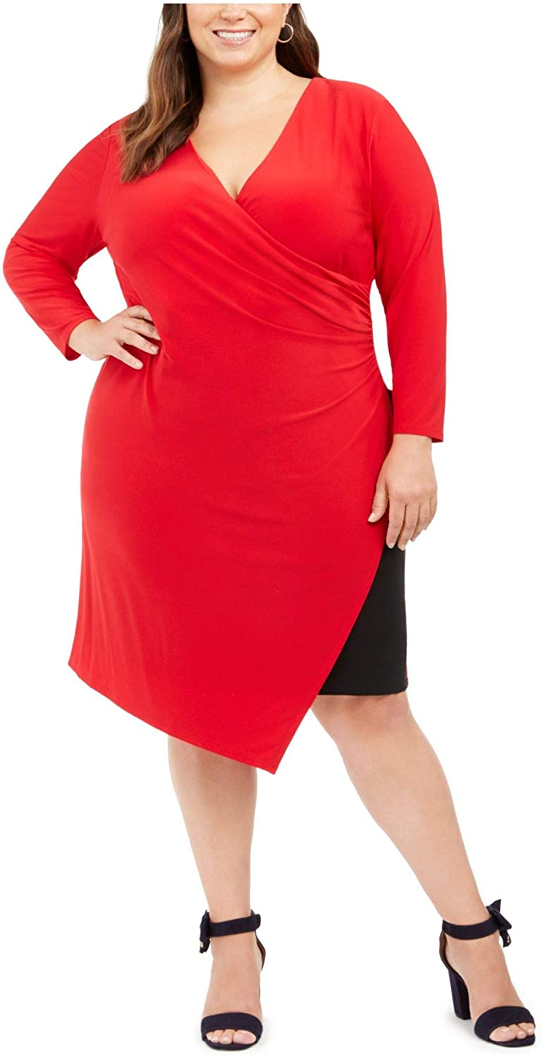 Tommy Hilfiger Womens Red Ruched Zippered Color Block Long Sleeve V Neck Knee Length Sheath Cocktail Dress Size 16W