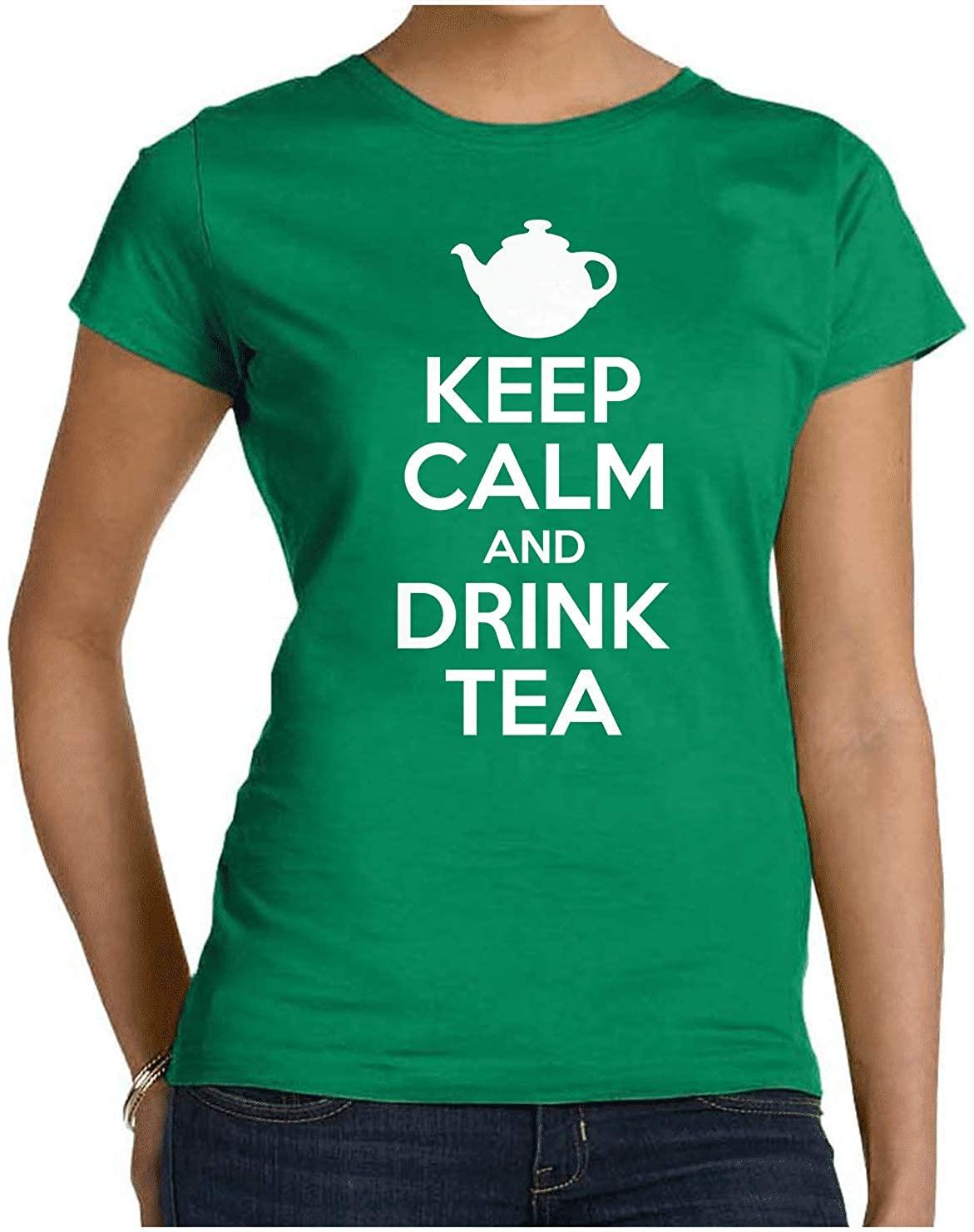 HARD EDGE DESIGN Women's Keep Calm and Drink Tea Crew Neck T-Shirt, Medium, Kelly Green