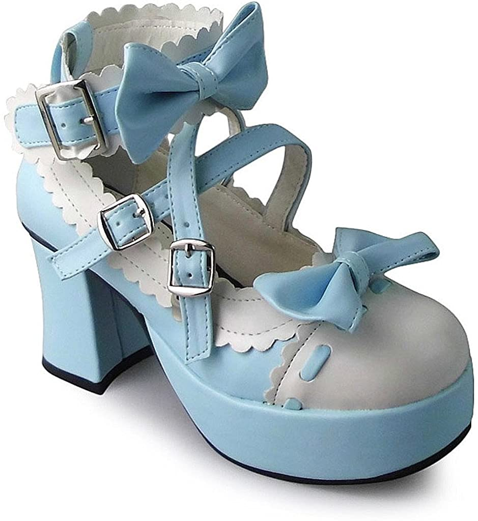 Antaina Mid Heel White and Blue Round Toe Bows Chunky Lolita Platform Shoes