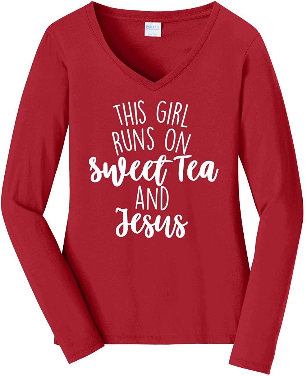 Tenacitee Women's This Girl Runs on Sweet Tea and Jesus Long Sleeve T-Shirt