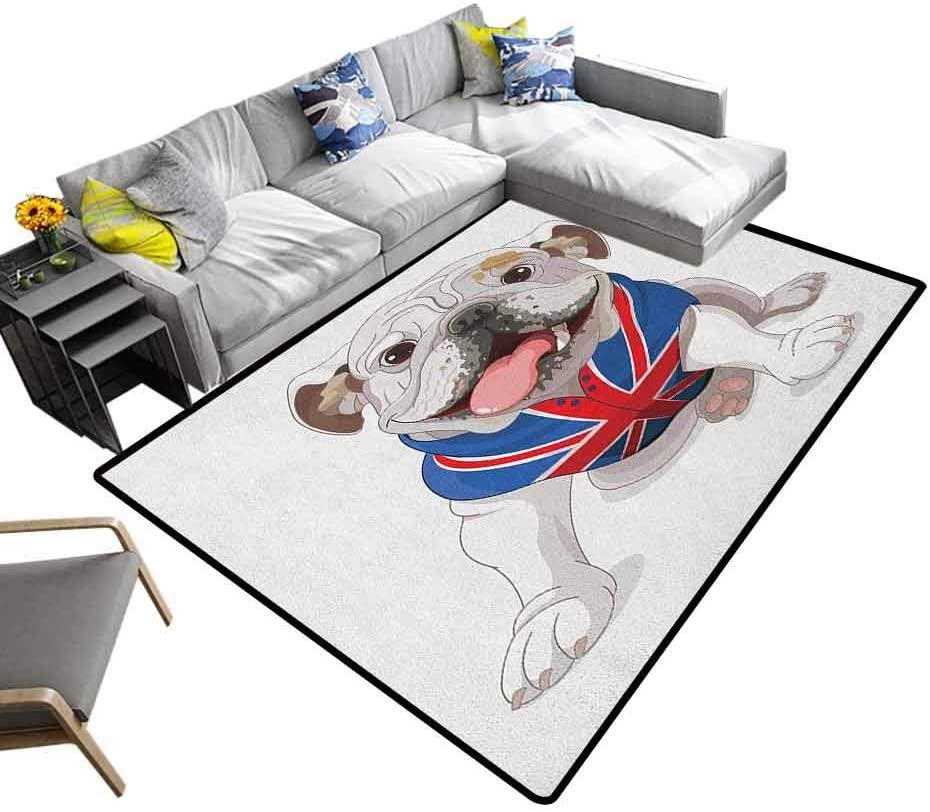 Modern Indoor Rugs English Bulldog, Super Cozy Bathroom Rug Carpet Happy Dog Wearing a Union Jack Vest Cartoon Style Animal Design for Bedroom Sofa Floor Cream Navy Blue Red, 5 x 8 Feet