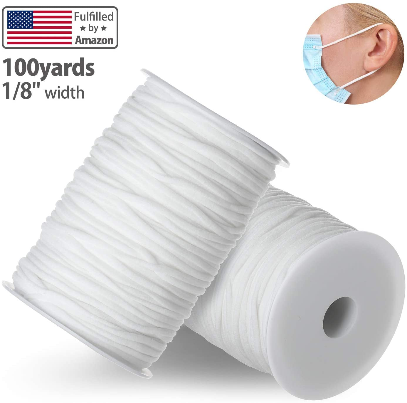 Elastic Bands for Sewing 1/8 inch, 100 Yard Elastic String for Masks, Elastic Cord for Masks, White Cord Stretchy Ear Tie Rope Handmade String for Sewing, Making Masks DIY (3mm White)
