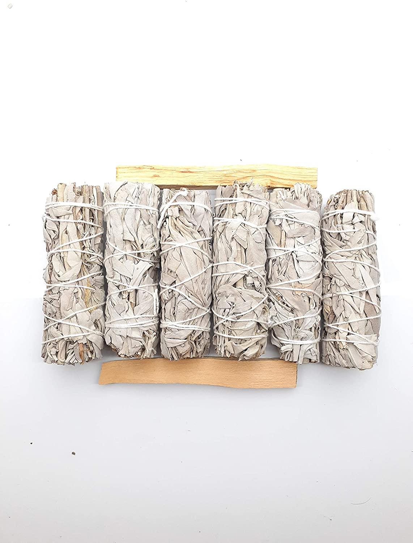 "Spiritual Guide Premium California White Sage Smudge Sticks - 6 Bundles of 4 inch sage with 2 Pieces of 4"" Palo Santo Sticks for Meditation, Healing, Cleansing & Smudging Ritual. 100% Organic"