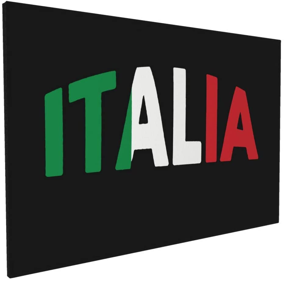 Canvas Wall Art with Italia Italy Italian Flag Painting Print, 16 x 24 Pictures Paintings Artwork Framed for Living Room Home Decoration