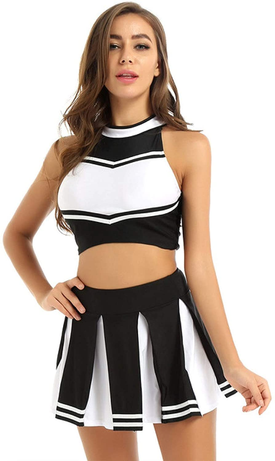 LXLXCS Sexy Costumes for Women for Sex Women Japanese Schoolgirl Cheerleading Cosplay Uniform Girls Sexy Lingerie Cheerleader Costume Outfit Set Halloween Sexy Costume (Color : Black, Size : M)
