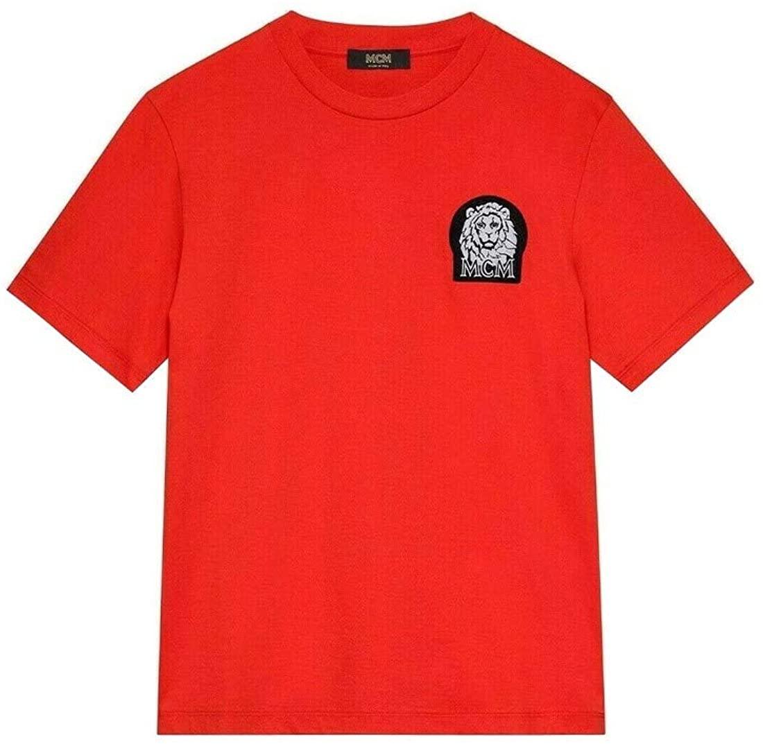 MCM Men's Orange Munich Lion Logo Cotton Short Sleeve T-Shirt MHT9AVU20OI0 (X-Large)
