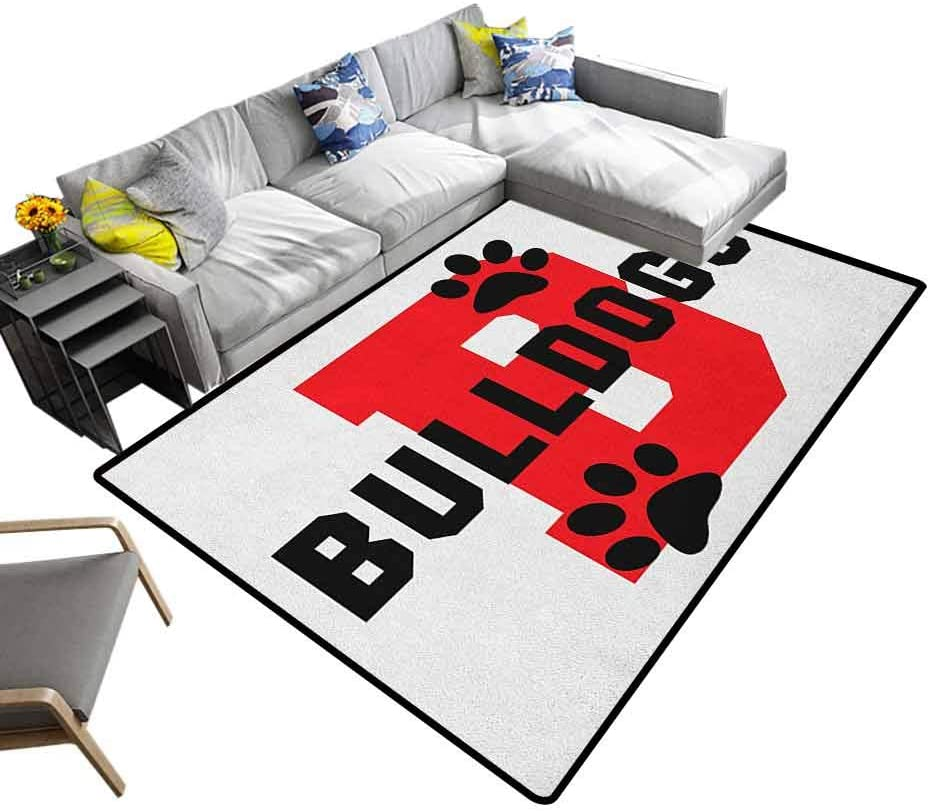 Nursery Area Rug English Bulldog, Chic Printed Bedside Rugs Paw Print Silhouette and Giant B Letter Background Custom Logo Design Contemporary Retro Polyester Textured Red Black White, 5 x 8 Feet