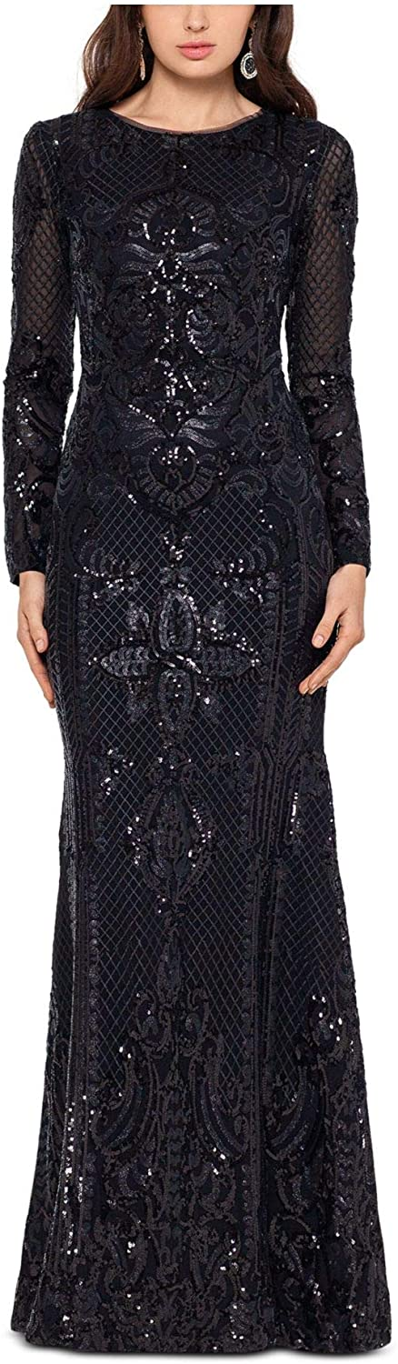 Betsy & Adam Womens Black Sequined Long Sleeve Jewel Neck Full-Length Fit + Flare Evening Dress Size 14P