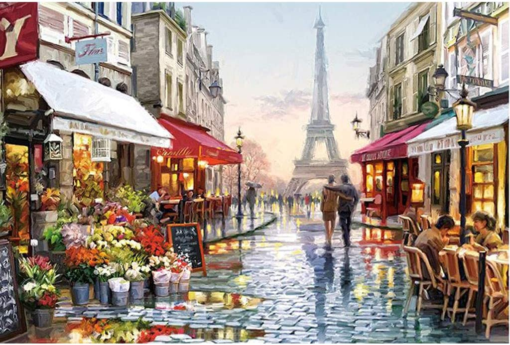XJ Wooden Jigsaw Puzzle 1000 Piece Puzzle Adult Jigsaw Puzzle Game Florist Puzzle Under The Eiffel Tower Casual Puzzle Puzzle Size: 75X50cm