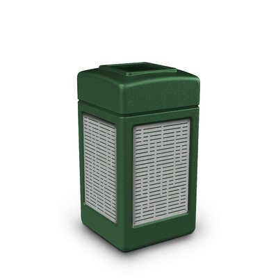 Precision Series 42-Gal Trash Can with Panel Color: Forest Green