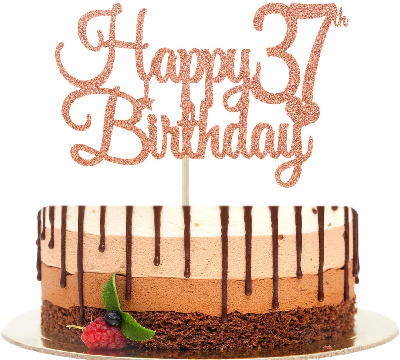 Happy 37th Birthday Cake Topper, Cheers to 37 Years, Hello 37,37th Birthday/Anniversary Party Decorations Rose Gold Glitter.