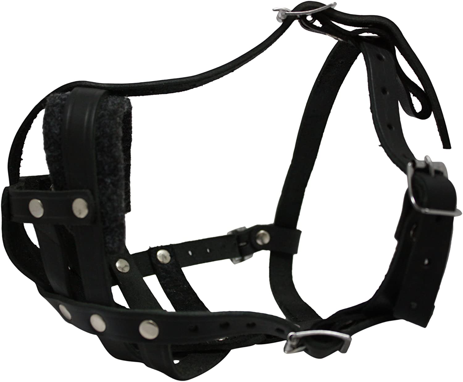 Leather Basket Muzzle (Boston). BM2, Black. 13.5