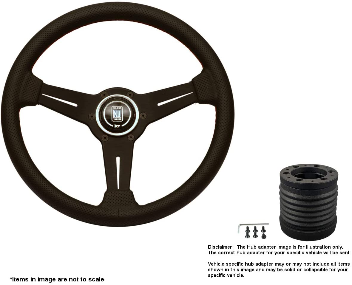 Nardi Classic 360mm (14.17 Inches) Leather Steering Wheel w/Black Spokes and MOMO Hub Adapter Compatible With Ford Escort Part # 6062.36.2092 + 4529