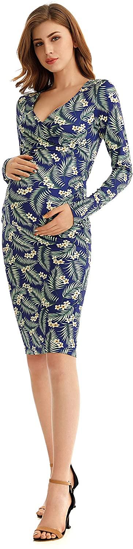 L.S boutik Women's Maternity Casual Long Sleeve Dresses Bodycon Pregnancy Mini Dress