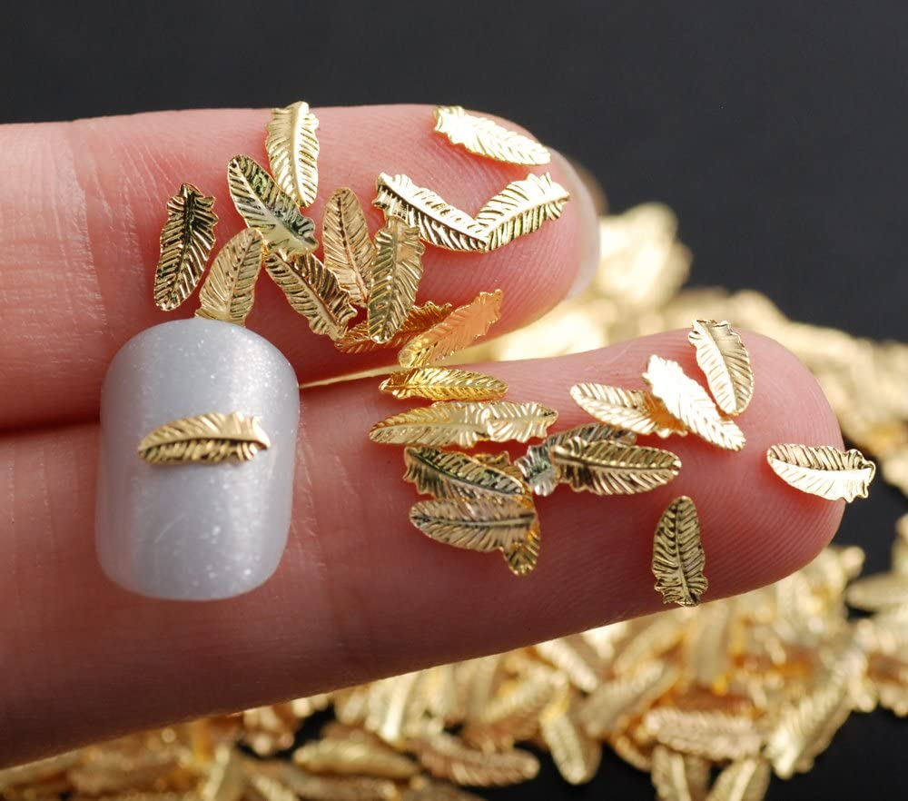500pcs/Pack 3D Charm Feather Shape Metal Stud Nails Art Rivet Gold Charms Nails Accessories 3D Nail Art Decorations