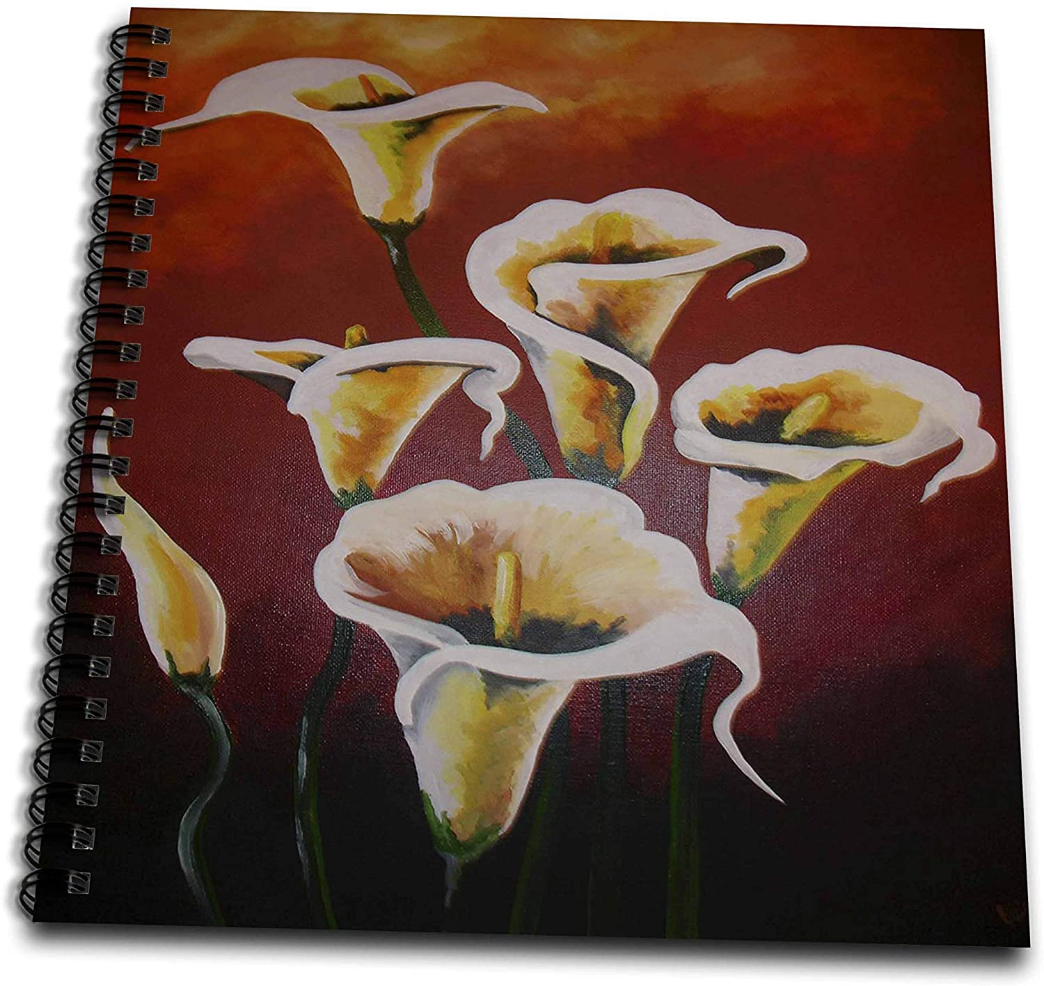 3dRose A painted still life of white calla lilies against a brown. - Drawing Books (db_333457_2)