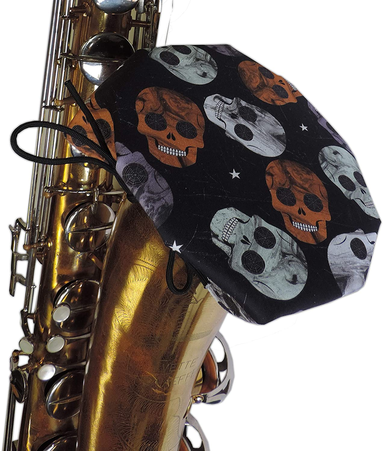 IBAM Bari Sax Bell Cover (fits Tenor Sax/Trombone) w/MERV-13 filter - Quick to attach and remove. Trusted by school districts and musicians! Manufactured by musicians for musicians - Skulls Design