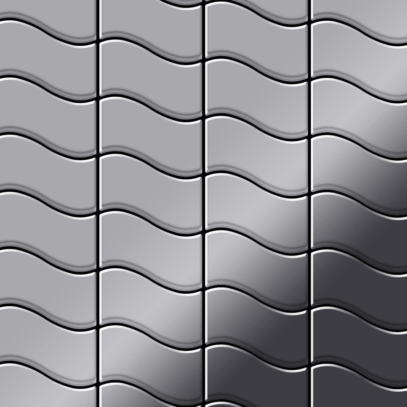 Mosaic Tile massiv Metal Stainless Steel Marine Mirror Grey 1.6mm Thick ALLOY Flux-S-S-MM Designed by Karim Rashid