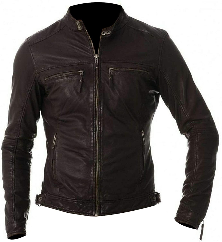 III-Fashions Men's Cafe Racer Vintage Biker Zipper Pockets Motorcycle Brown Leather Jacket