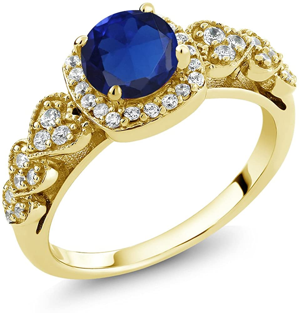 Gem Stone King Build Your Own Ring - Personalized Birthstone Ring in 18K Yellow Gold Plated Silver Ring