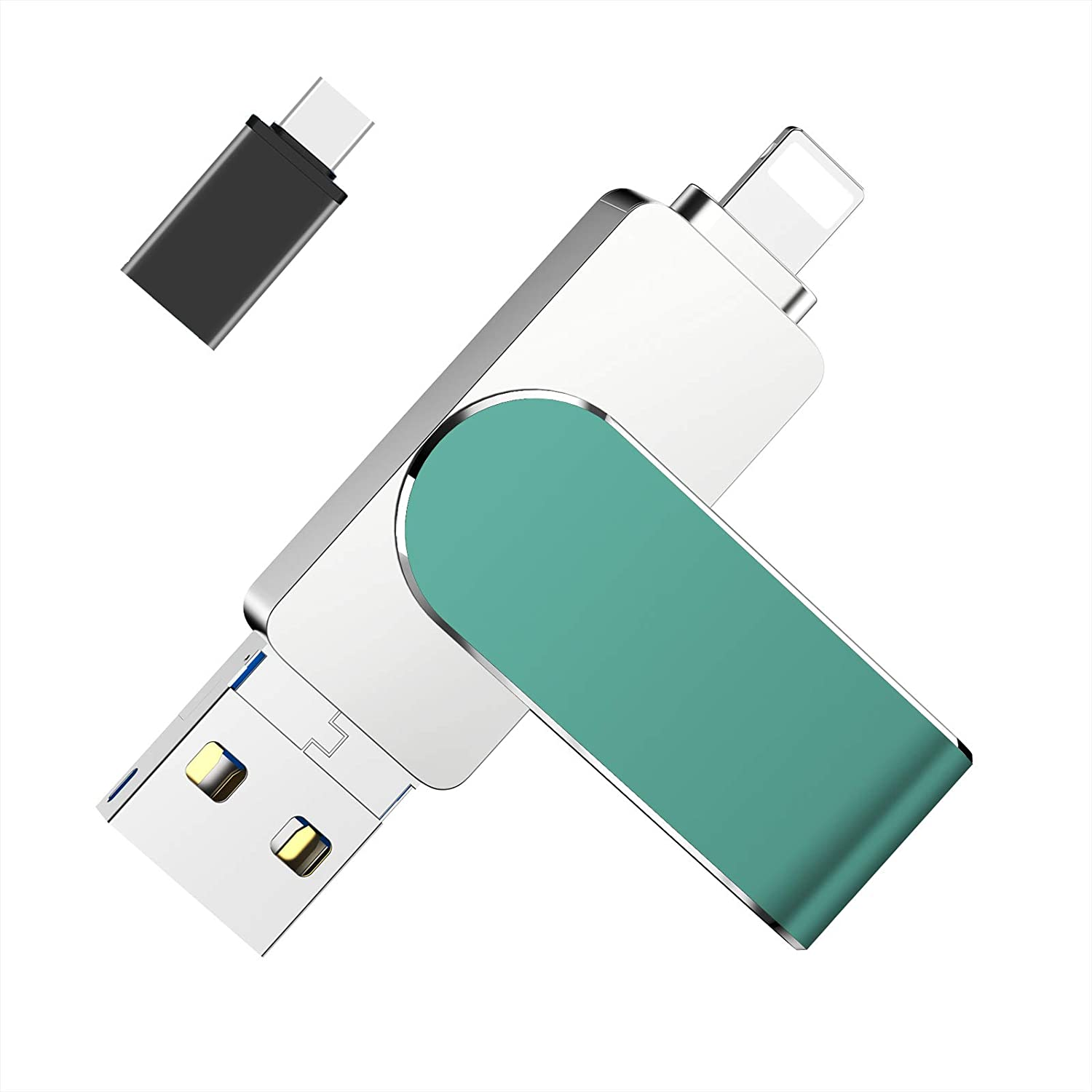 Flash Drive Compatible iPhone, 128GB Photo Stick Memory Stick Mobile Thumb Drive USB 3.0 Compatible iPhone/iPad/Android Backup OTG Smart Phone Protected by Password/Touch ID and Face ID (Green)