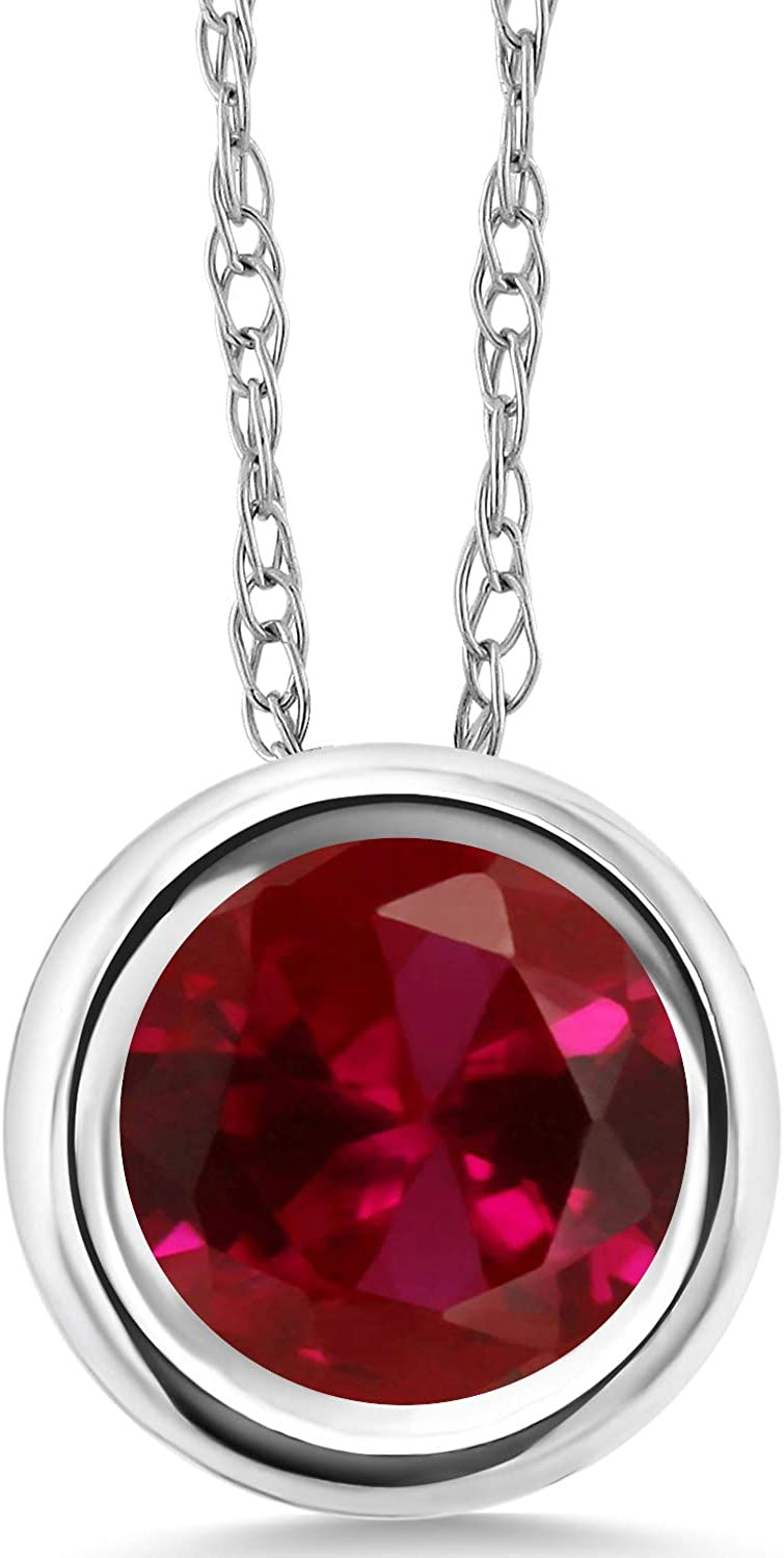 Gem Stone King Build Your Own Pendant - Personalized Birthstone in 14K White Gold Pendant With Chain