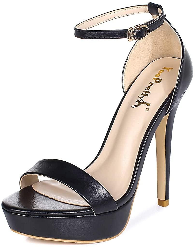 YooPrettyz Women Metallic Ankle Strap Platform High Heels Model Dress Sandals