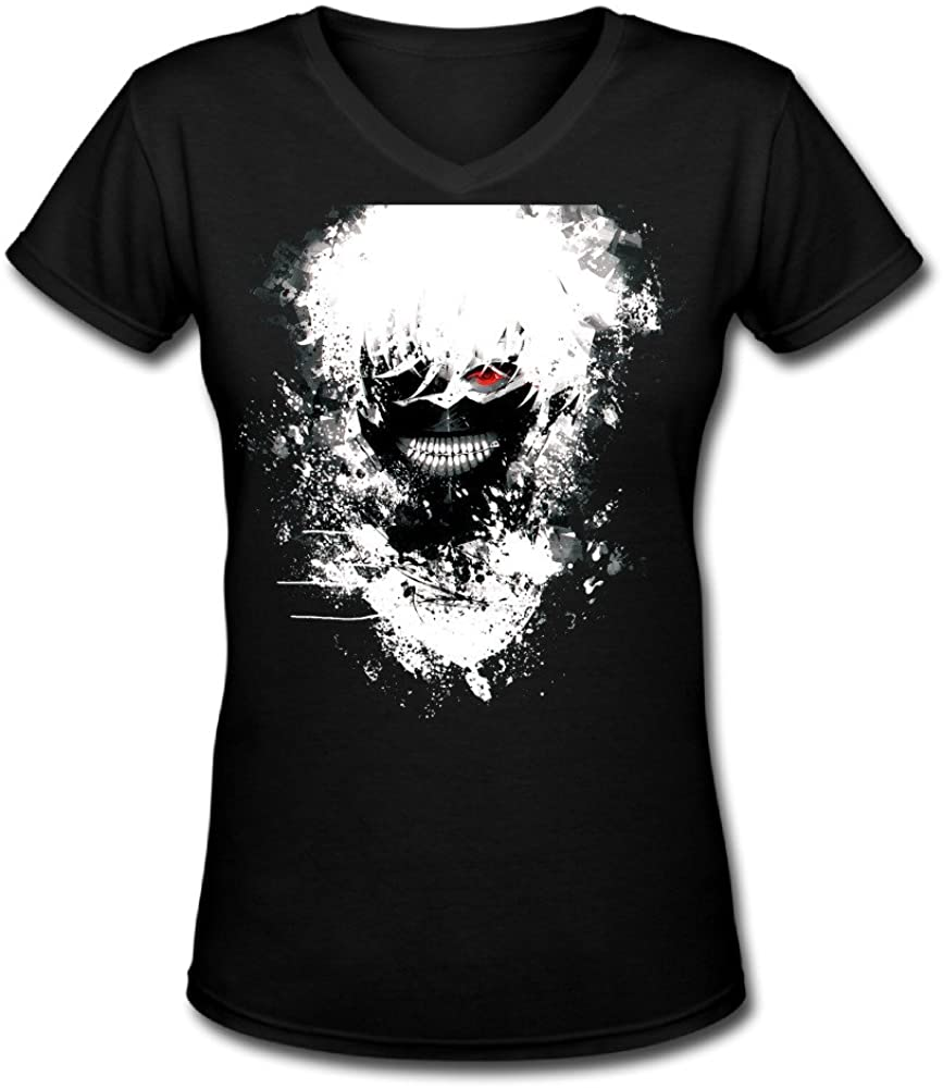 2016 Newest Tokyo Ghoul V-Neck Printed Cool T Shirts for Lady