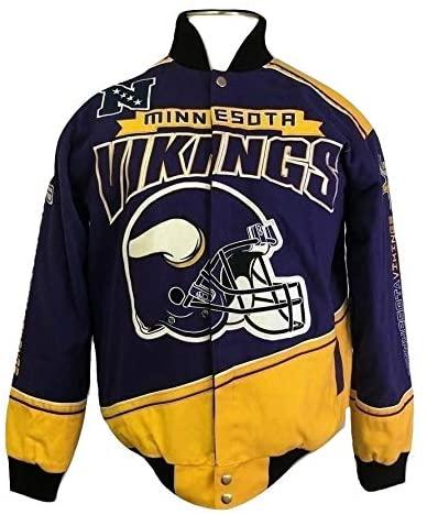 Minn-e-sota Vi-Kings Men's Button Up Enforcer Cotton Twill Jacket
